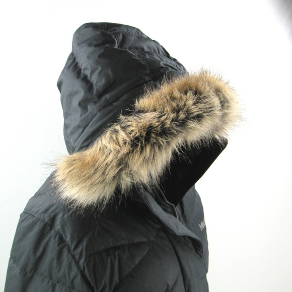 Marmot Womens Faux Fur Hooded Long Down Varma Parka Jacket Sz L NWOT Fast Ship